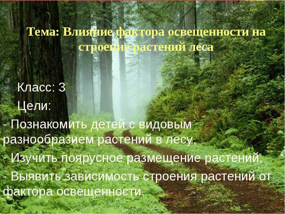 Тема: Влияние фактора освещенности на строение растений леса Класс: 3 Цели: -...