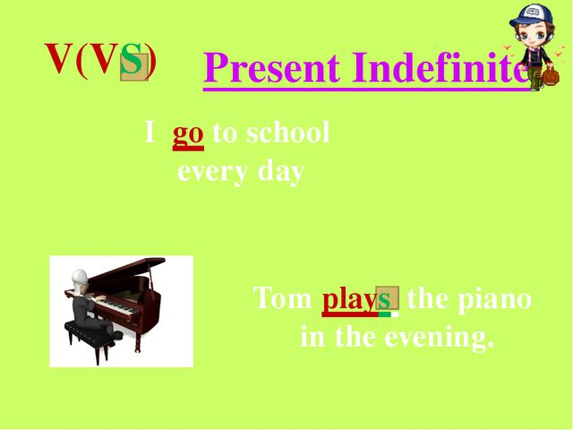 V(VS) Present Indefinite I go to school every day Tom plays the piano in the...
