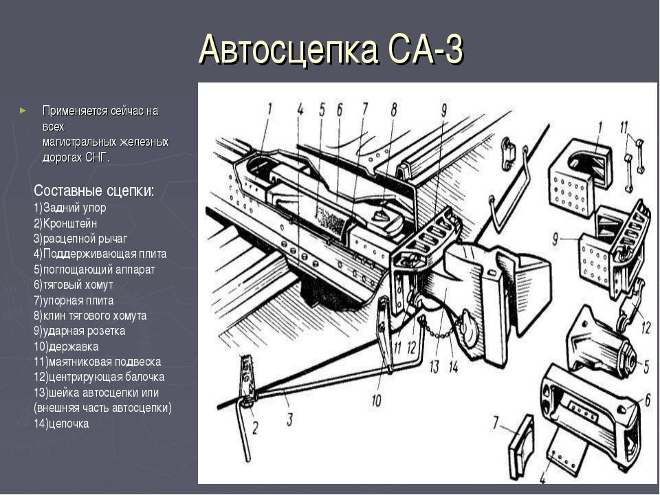 Автосцепка СА-3 Применяется сейчас на всех магистральныхжелезных дорогахСНГ...