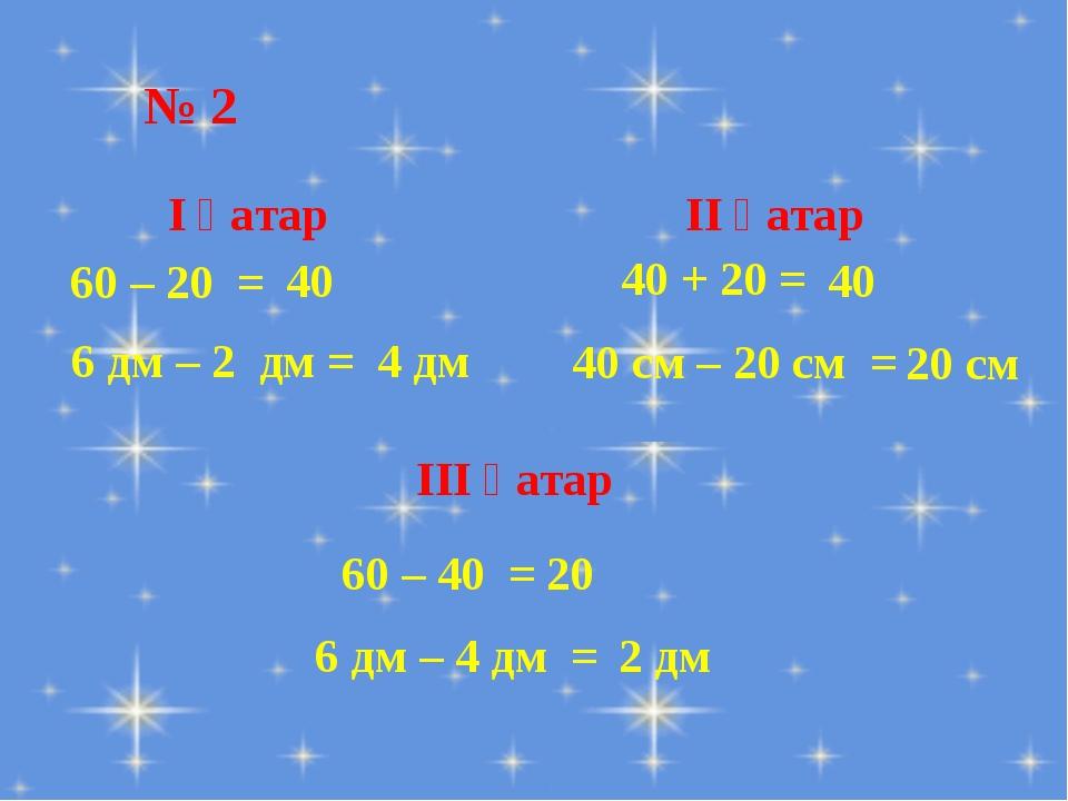 № 2 60 – 20 = 6 дм – 2 дм = І қатар 40 ІІ қатар 40 + 20 = 40 см – 20 см =...