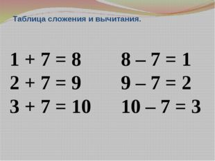Таблица сложения и вычитания. 1 + 7 = 8 8 – 7 = 1 2 + 7 = 9 9 – 7 = 2 3 + 7 =