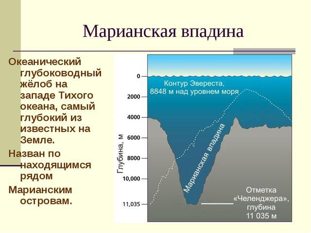 Марианская впадина Океанический глубоководныйжёлобна западеТихого океана,...
