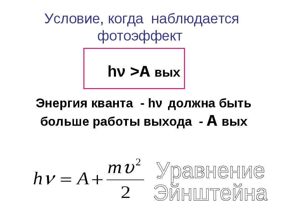Условие, когда наблюдается фотоэффект hν >А вых Энергия кванта - hν должна бы...