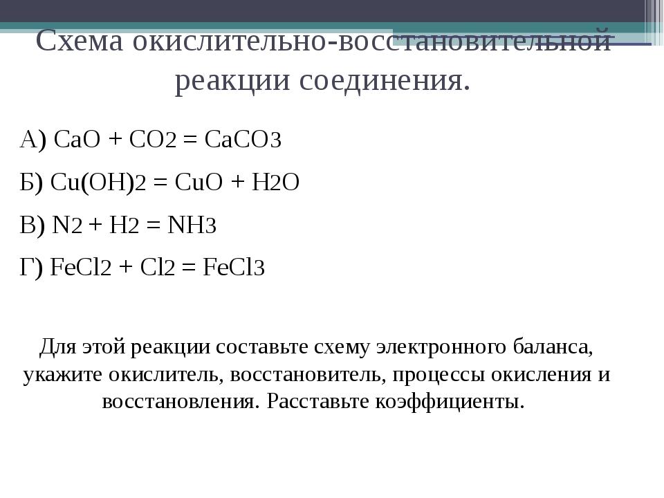 Схема окислительно-восстановительной реакции соединения. А) CaO + CO2 = CaCO3...