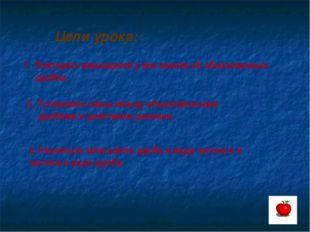 Цели урока: Повторить имеющиеся у вас знания об обыкновенных дробях. Установи