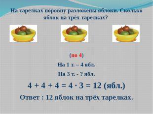 На тарелках поровну разложены яблоки. Сколько яблок на трёх тарелках? (по 4)