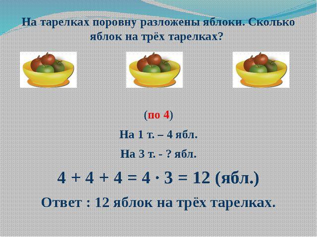 На тарелках поровну разложены яблоки. Сколько яблок на трёх тарелках? (по 4)...