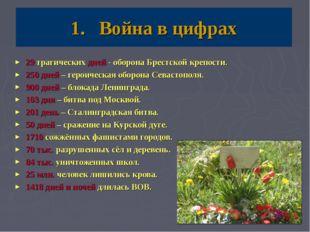 Война в цифрах 29 трагических дней - оборона Брестской крепости. 250 дней – г