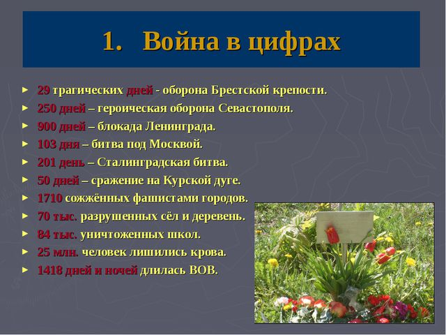 Война в цифрах 29 трагических дней - оборона Брестской крепости. 250 дней – г...