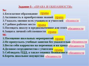 Задание 5 - «ПРАВА И ОБЯЗАННОСТИ» 9а: Бесплатное образование Активность в при