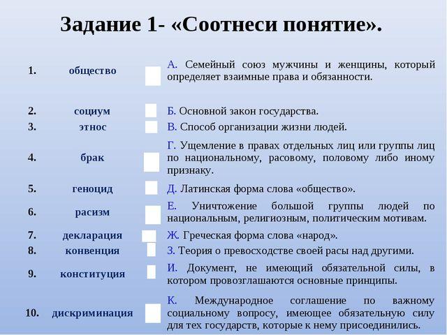 Задание 1- «Соотнеси понятие». 1.обществоВА. Семейный союз мужчины и женщи...