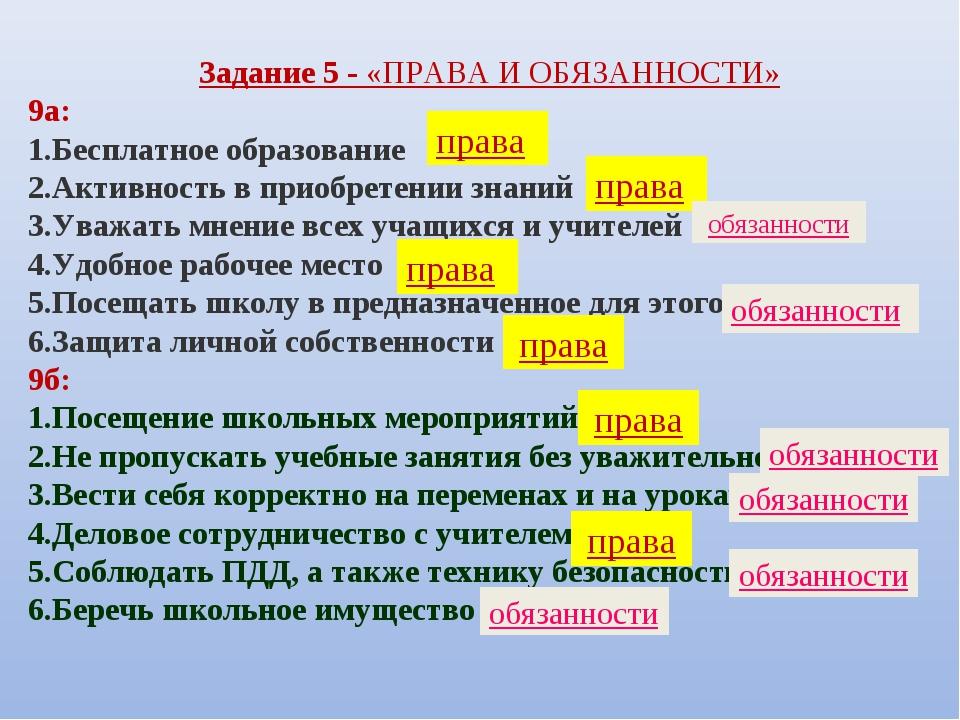 Задание 5 - «ПРАВА И ОБЯЗАННОСТИ» 9а: Бесплатное образование Активность в при...