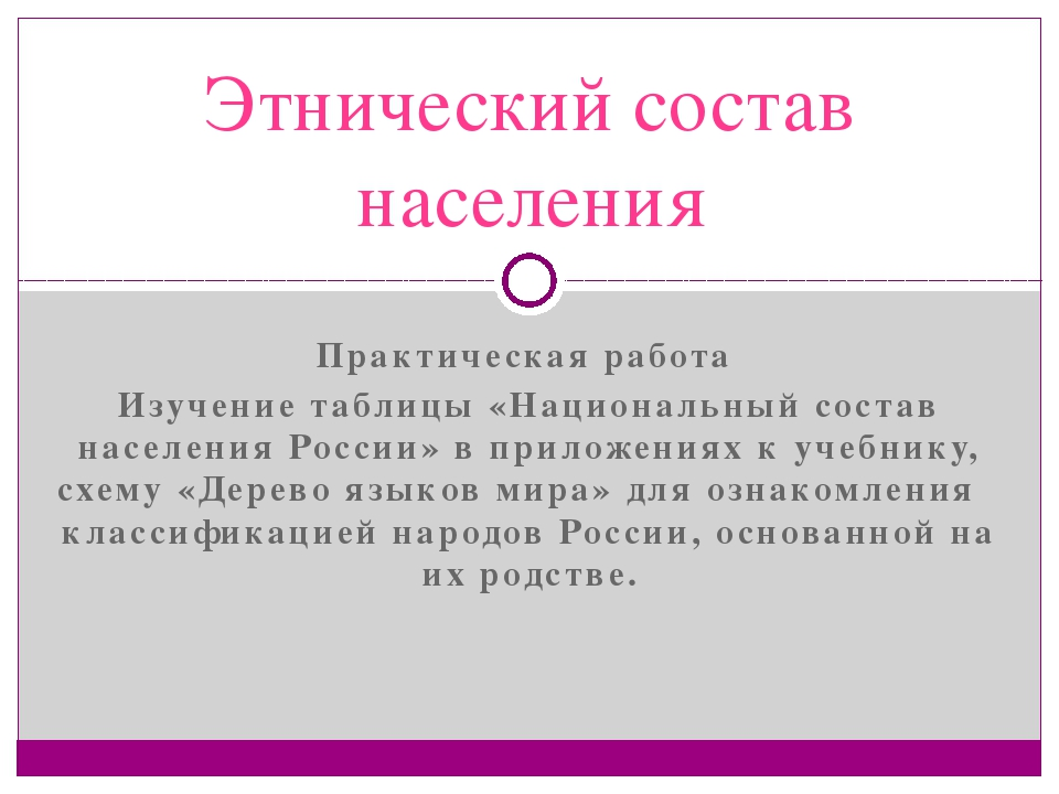 Практическая работа Изучение таблицы «Национальный состав населения России» в...