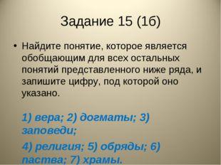 Задание 15 (1б) Найдите понятие, которое является обобщающим для всех остальн