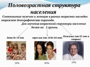 Половозрастная структура населения Соотношение мужчин и женщин в разных возр