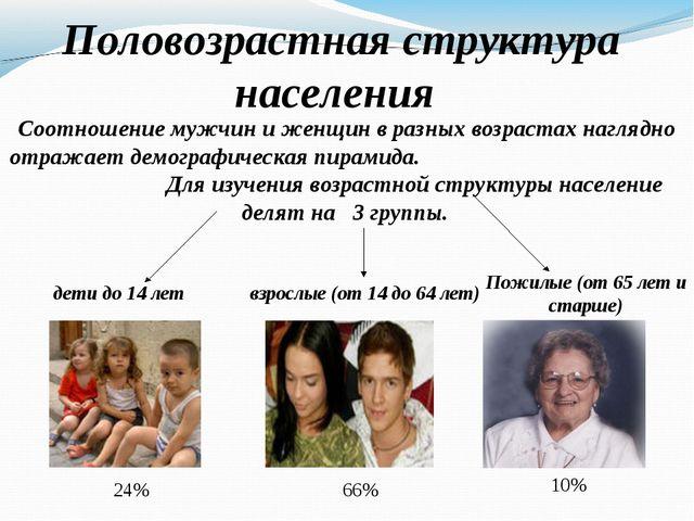 Половозрастная структура населения Соотношение мужчин и женщин в разных возр...