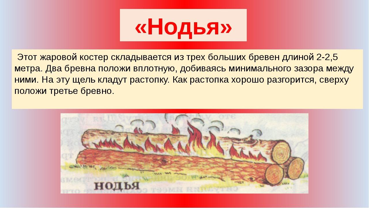 «Нодья» Этот жаровой костер складывается из трех больших бревен длиной 2-2,5...