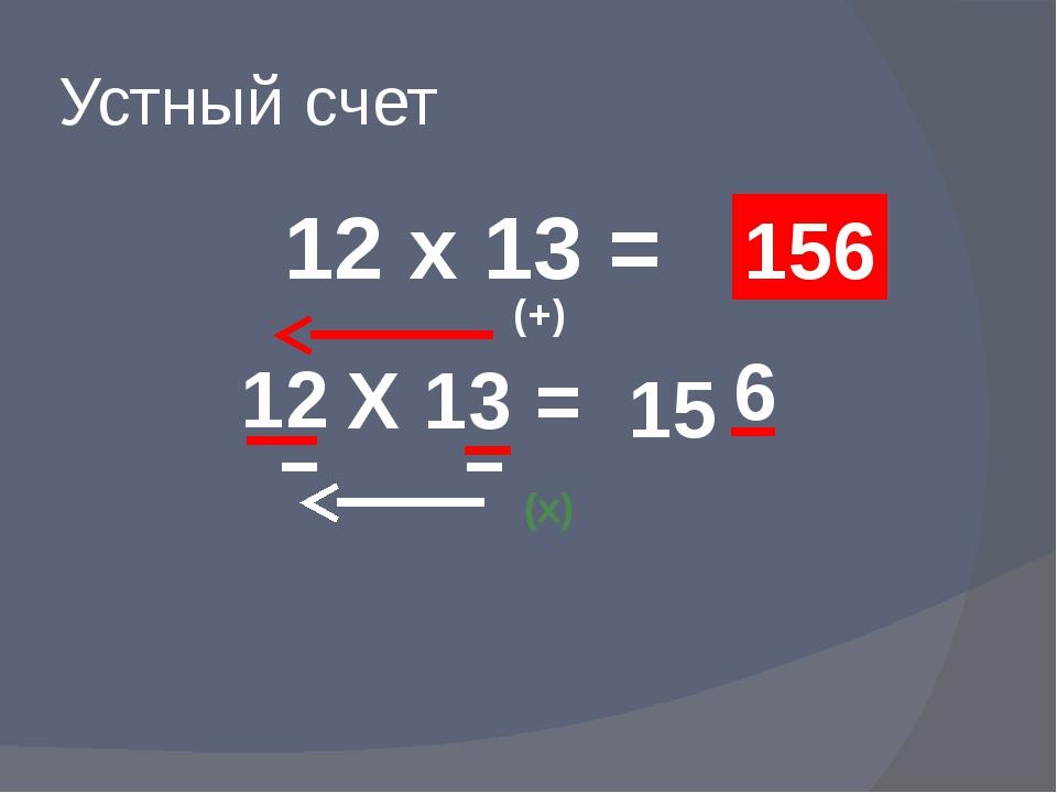 Устный счет 12 х 13 = 156 12 Х 13 = (+) 15 (х) 6