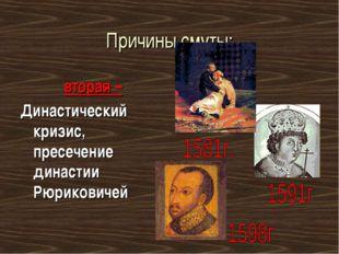 Причины смуты: вторая – Династический кризис, пресечение династии Рюриковичей