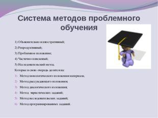 Система методов проблемного обучения 1)Объяснительно иллюстративный; 2)Репр