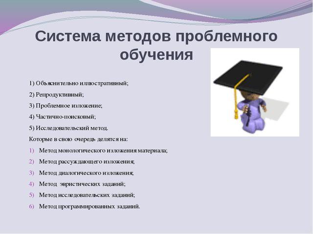 Система методов проблемного обучения 1)Объяснительно иллюстративный; 2)Репр...