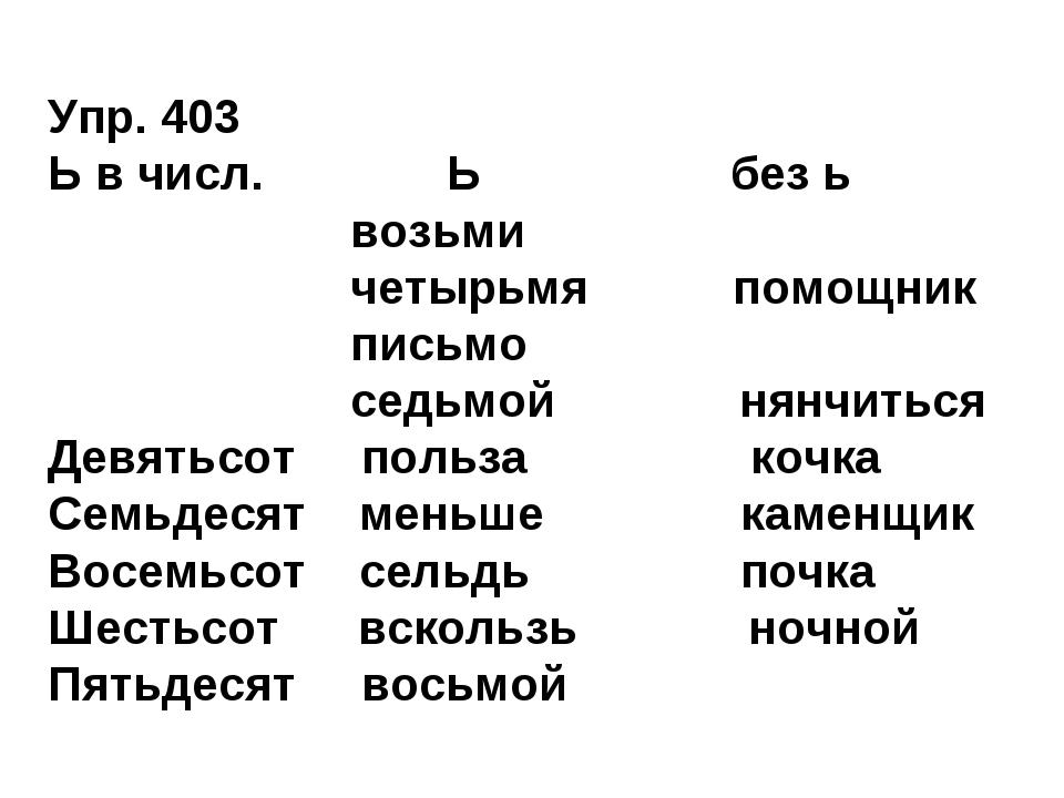 Упр. 403 Ь в числ. Ь без ь возьми четырьмя помощник письмо седьмой нянчиться...