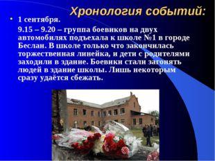 Хронология событий: 1 сентября. 9.15 – 9.20 – группа боевиков на двух автомо