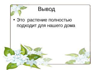 Вывод Это растение полностью подходит для нашего дома