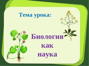 Тема урока: Биология как наука