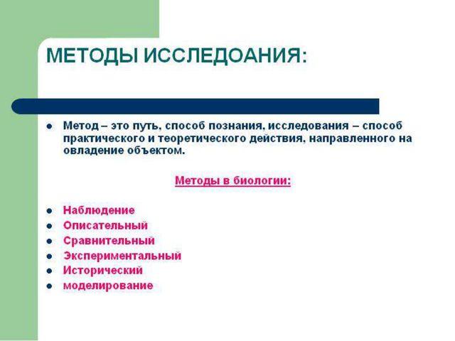 Методы исследования в биологии