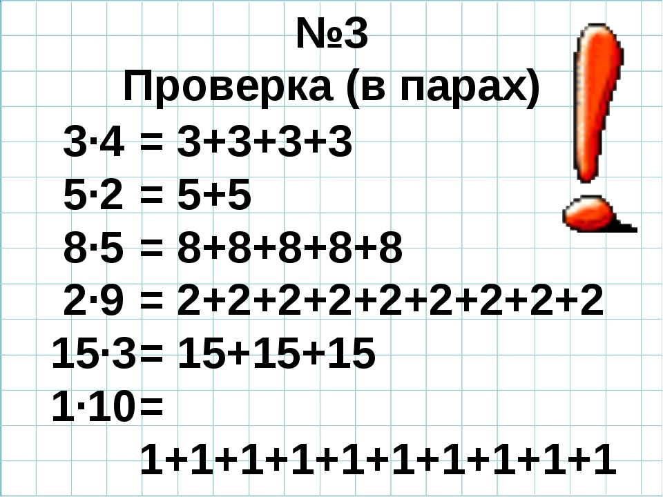 №3 Проверка (в парах) 3·4 5·2 8·5 2·9 15·3 1·10 = 3+3+3+3 = 5+5 = 8+8+8+8+8...