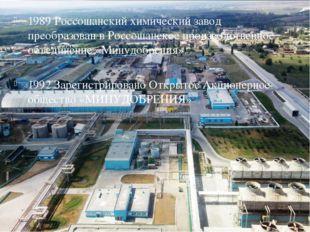 1989 Россошанский химический завод преобразован в Россошанское производствен