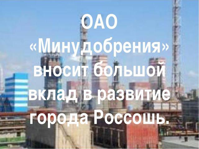 ОАО «Минудобрения» вносит большой вклад в развитие города Россошь.