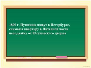 1800 г. Пушкины живут в Петербурге, снимают квартиру в Литейной части неподал