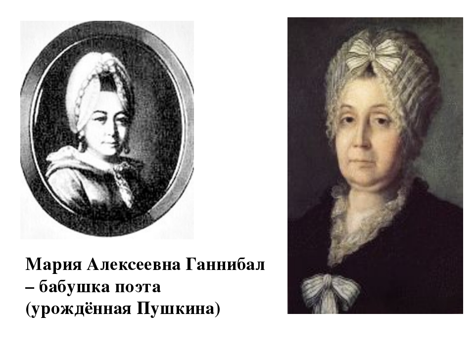 Мария Алексеевна Ганнибал – бабушка поэта (урождённая Пушкина)