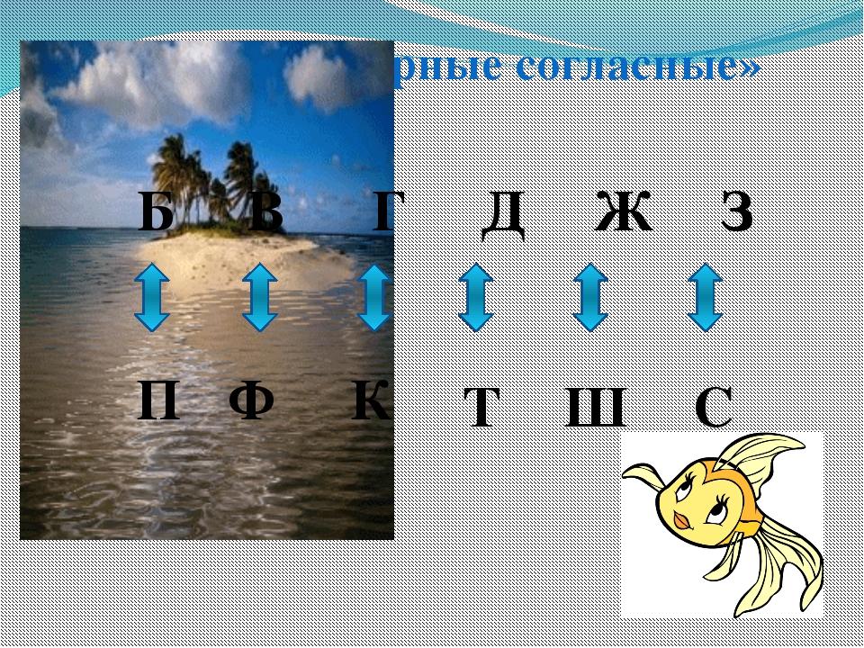 Остров «Парные согласные» Б В Г Д Ж З П Ф К Т Ш С