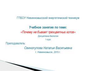 ГПБОУ Невинномысский энергетический техникум Учебное занятие по теме: «Почему