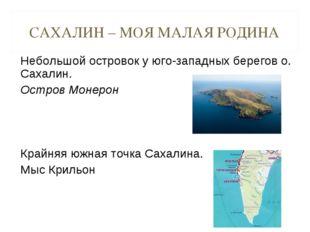 САХАЛИН – МОЯ МАЛАЯ РОДИНА Небольшой островок у юго-западных берегов о. Сахал