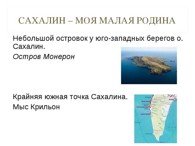 САХАЛИН – МОЯ МАЛАЯ РОДИНА Небольшой островок у юго-западных берегов о. Сахал...