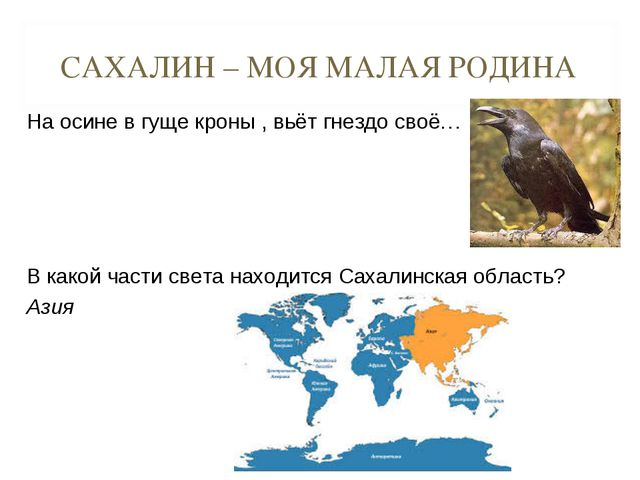САХАЛИН – МОЯ МАЛАЯ РОДИНА На осине в гуще кроны , вьёт гнездо своё…  В како...