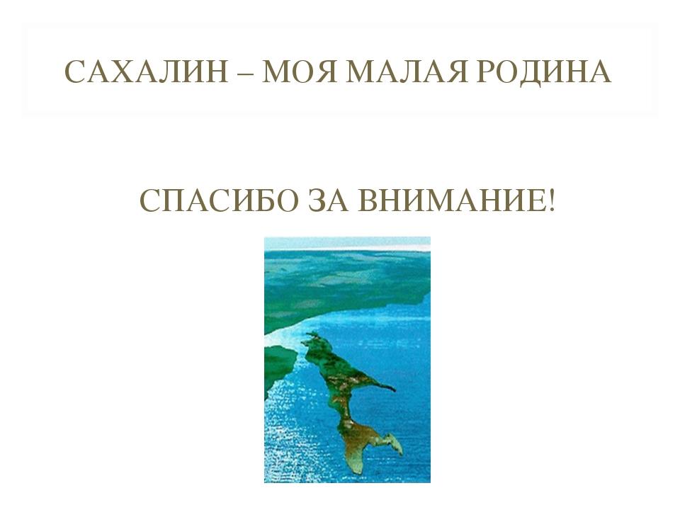 САХАЛИН – МОЯ МАЛАЯ РОДИНА СПАСИБО ЗА ВНИМАНИЕ!