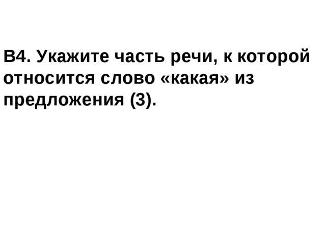 В4. Укажите часть речи, к которой относится слово «какая» из предложения (3).