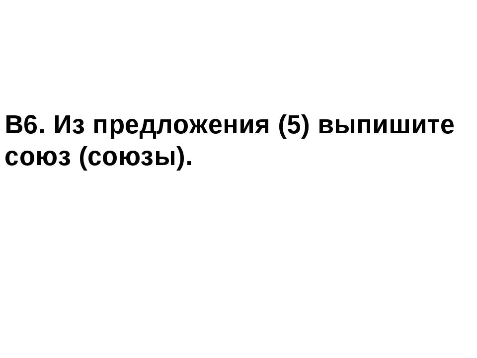 В6. Из предложения (5) выпишите союз (союзы).