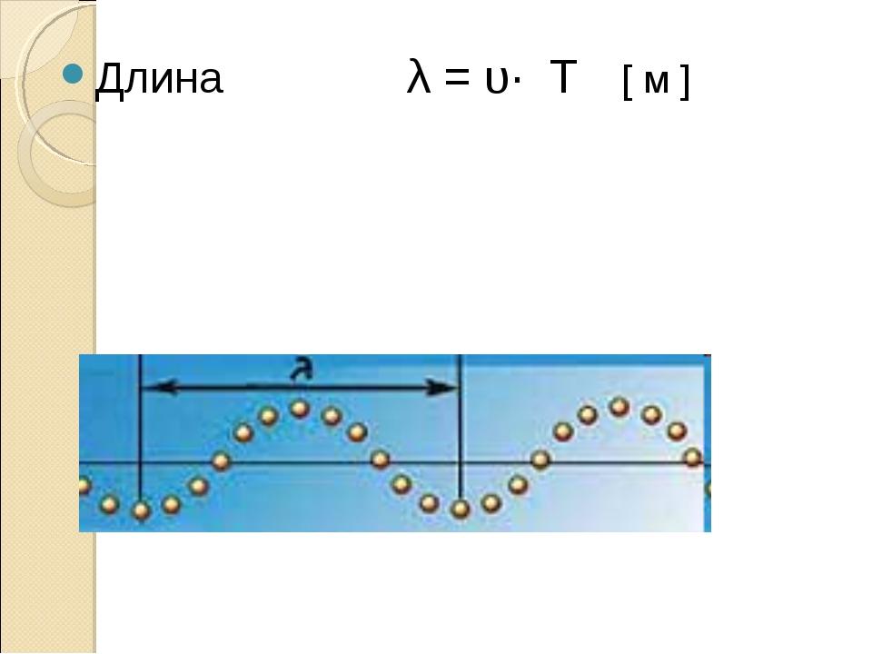 Длина λ = υ· T [ м ]