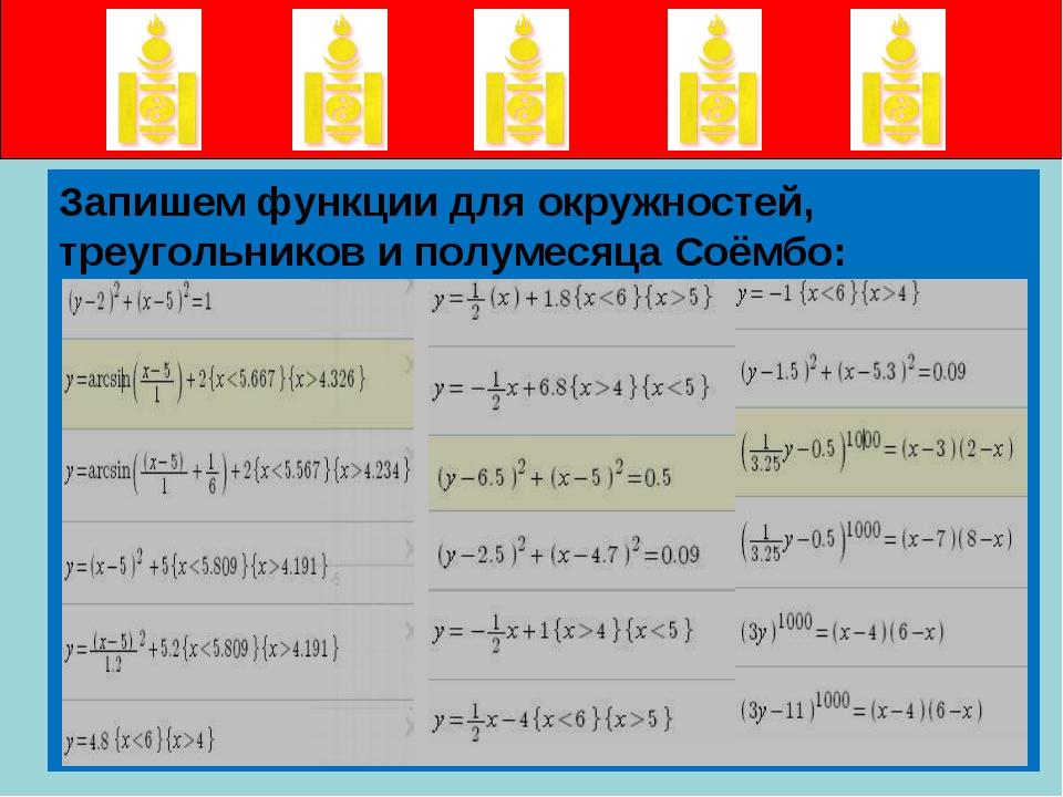 Запишем функции для окружностей, треугольников и полумесяца Соёмбо: