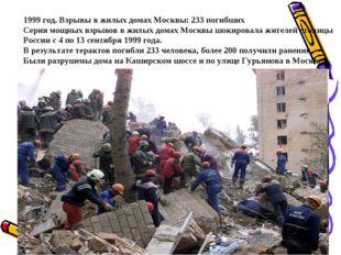1999 год. Взрывы в жилых домах Москвы: 233 погибших Серия мощных взрывов в жи