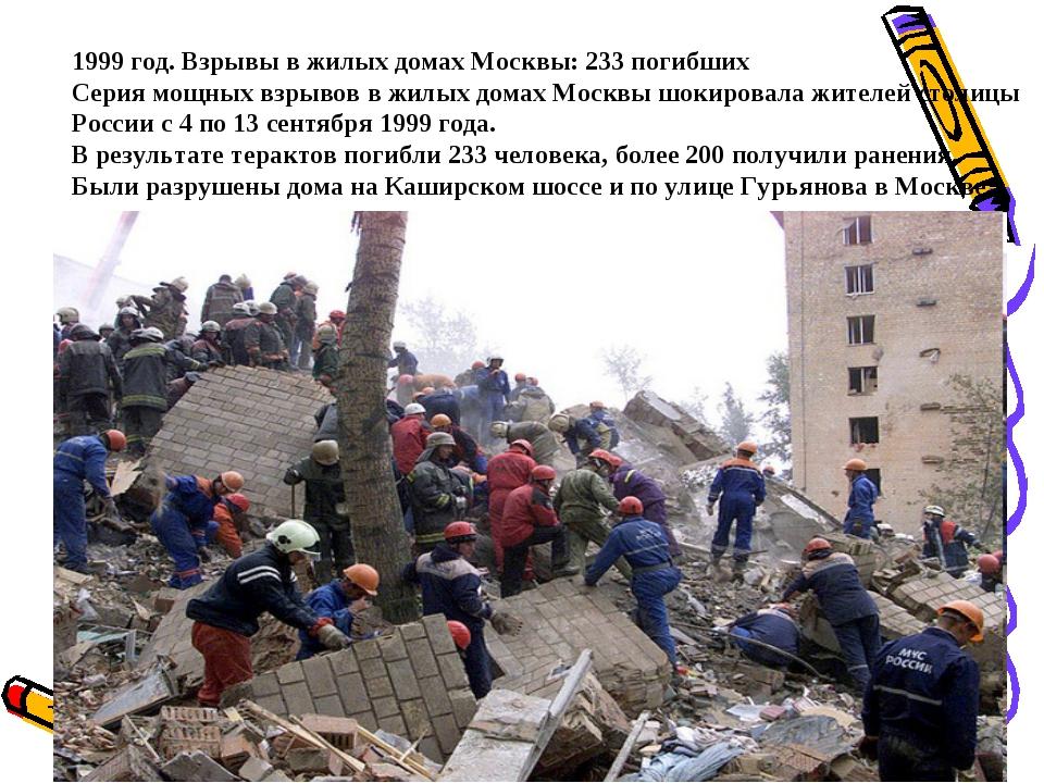 1999 год. Взрывы в жилых домах Москвы: 233 погибших Серия мощных взрывов в жи...