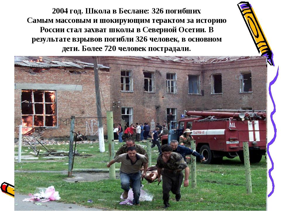2004 год. Школа в Беслане: 326 погибших Самым массовым и шокирующим терактом...