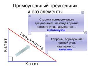 Прямоугольный треугольник и его элементы Гипотенуза Катет Катет Сторона прямо