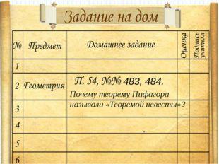 483, 484. Почему теорему Пифагора называли «Теоремой невесты»?